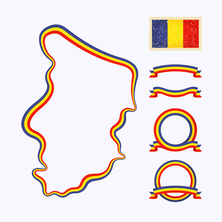 national border: Outline map of Chad. Border is marked with ribbon in national colors. The package contains frames in national colors and stamp with flag.