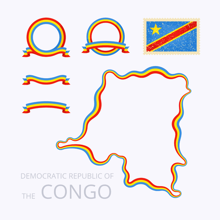 national colors: Outline map of Democratic Republic of the Congo. Border is marked with ribbon in national colors. The package contains frames in national colors and stamp with flag.