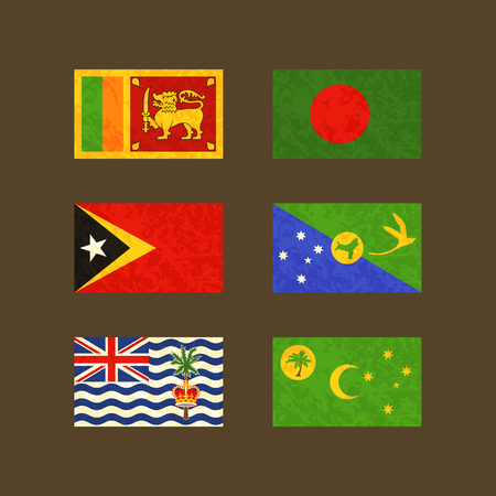 old flag: Flags of Sri Lanka, Bangladesh, East Timor, Christmas Island, Cocos Islands and British Indian Ocean Territory. Flags with light grunge dirty effect.