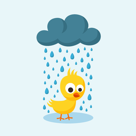 13th: Sad yellow chick in the rain in flat design style. Illustration for Friday the 13th or bad day. Illustration