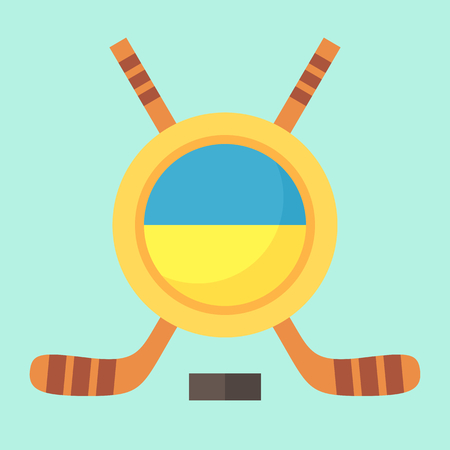 ukrainian flag: Universal symbol for international hockey tournament (championship, cup) in Ukraine. Emblem contains Ukrainian flag and crossed hockey sticks. Illustration