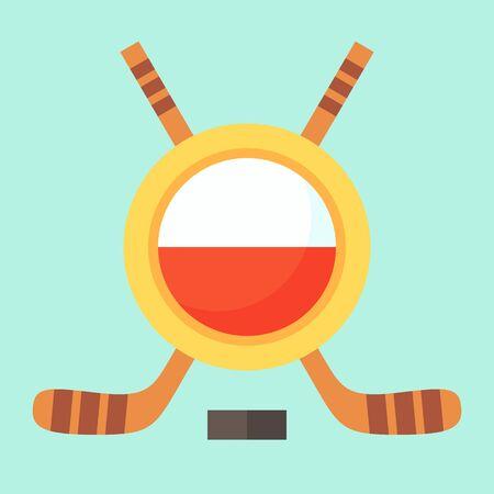 polish flag: Universal symbol for international hockey tournament (championship, cup) in Poland. Emblem contains Polish flag and crossed hockey sticks.
