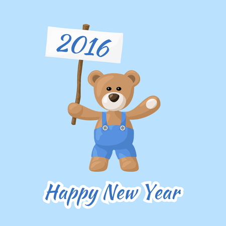 pf: Happy New Year with teddy bear. Greeting card for new year 2016. PF 2016. Illustration