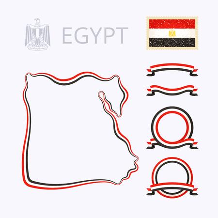 bandera de egipto: Esquema del mapa de Egipto. Frontera está marcada con la cinta con los colores nacionales. El paquete contiene marcos en colores nacionales y el sello con la bandera.