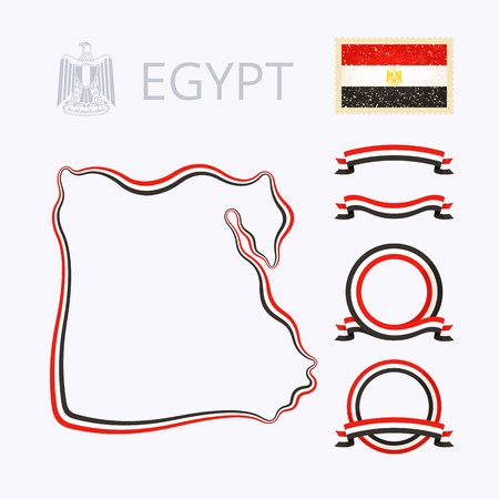 flag of egypt: Outline map of Egypt. Border is marked with ribbon in national colors. The package contains frames in national colors and stamp with flag.