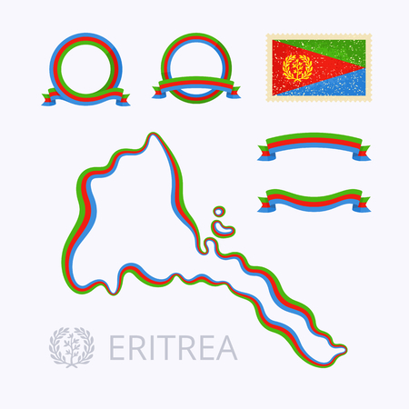 national colors: Outline map of Eritrea. Border is marked with ribbon in national colors. The package contains frames in national colors and stamp with flag. Illustration