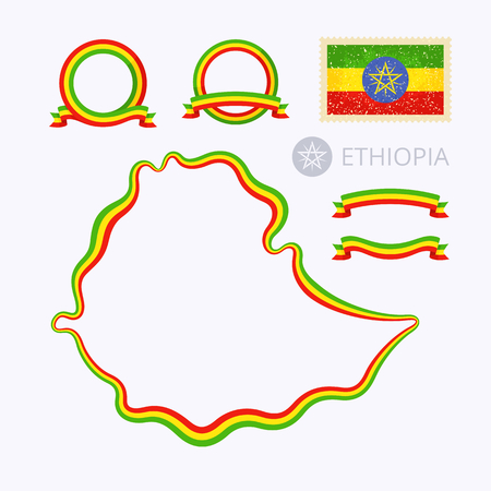 national border: Outline map of Ethiopia. Border is marked with ribbon in national colors. The package contains frames in national colors and stamp with flag. Illustration