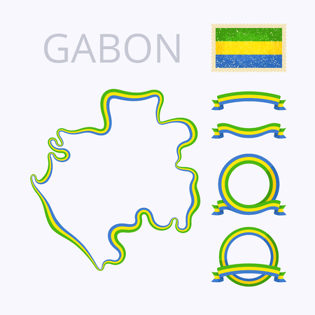 national border: Outline map of Gabon. Border is marked with ribbon in national colors. The package contains frames in national colors and stamp with flag.