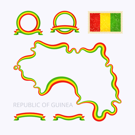 national border: Outline map of Guinea. Border is marked with ribbon in national colors. The package contains frames in national colors and stamp with flag.