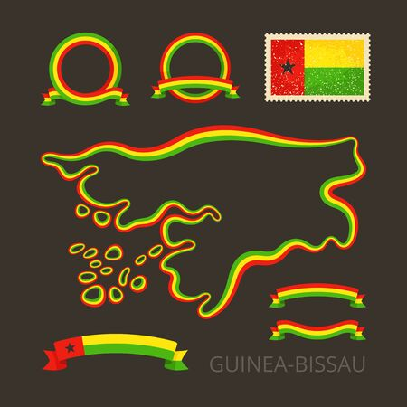national border: Outline map of Guinea-Bissau. Border is marked with ribbon in national colors.