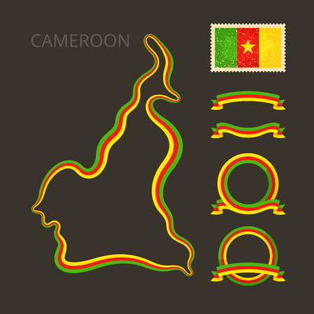national border: Outline map of Cameroon. Border is marked with ribbon in national colors. The package contains frames in national colors and stamp with flag.