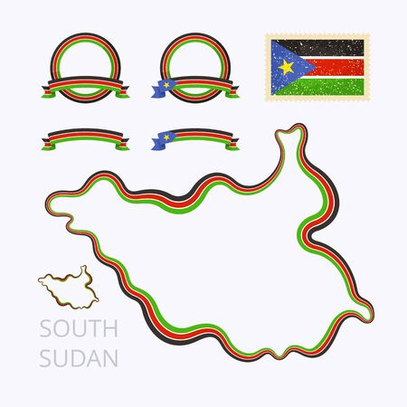 south sudan: Outline map of South Sudan. Border is marked with ribbon in national colors. The package contains frames in national colors and stamp with flag. Illustration