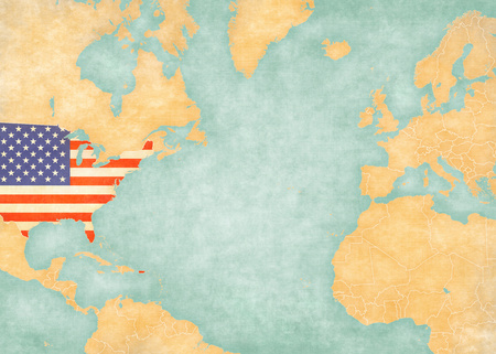 atlantic ocean: United States US flag on the map of North Atlantic Ocean. The Map is in vintage summer style and sunny mood. The map has soft grunge and vintage atmosphere, like watercolor painting on old paper.