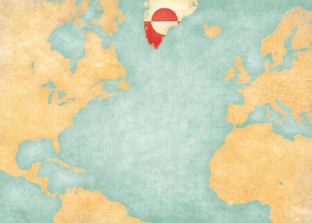 atlantic ocean: Greenland Greenlandic flag on the map of North Atlantic Ocean. The Map is in vintage summer style and sunny mood. The map has soft grunge and vintage atmosphere, like watercolor painting on old paper. Stock Photo