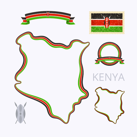 national border: Outline map of Kenya. Border is marked with ribbon in national colors. The package contains frames in national colors and stamp with flag.