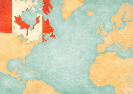 continente americano: Canadá bandera canadiense en el mapa de Océano Atlántico del Norte. El mapa está en el estilo de época y el estado de ánimo soleado. El mapa tiene grunge suave y un ambiente de época, como la pintura de acuarela sobre papel viejo. Foto de archivo