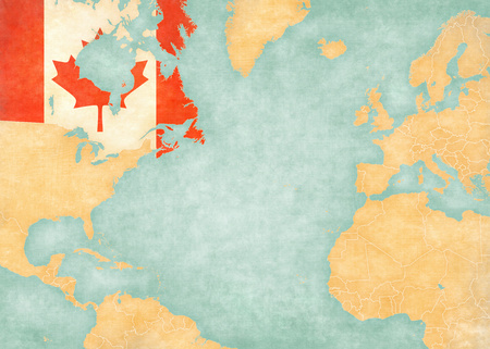 north american: Canada Canadian flag on the map of North Atlantic Ocean. The Map is in vintage style and sunny mood. The map has soft grunge and vintage atmosphere, like watercolor painting on old paper.