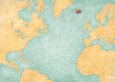atlantic ocean: Iceland Icelandic flag on the map of North Atlantic Ocean. The Map is in vintage style and sunny mood. The map has soft grunge and vintage atmosphere, like watercolor painting on old paper. Stock Photo