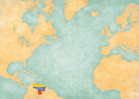 atlantic ocean: Venezuela (Venezuelan flag) on the map of North Atlantic Ocean. The Map is in vintage style and sunny mood. The map has soft grunge and vintage atmosphere, like watercolor painting on old paper.