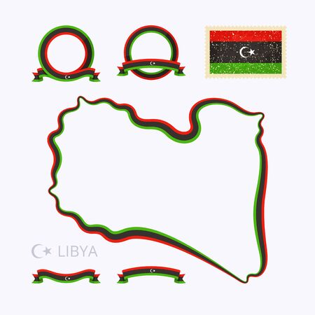 national border: Outline map of Libya. Border is marked with ribbon in national colors. The package contains frames in national colors and stamp with flag. Illustration