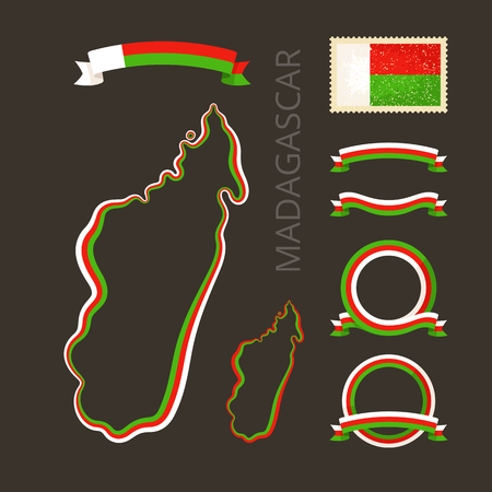 national border: Outline map of Madagascar. Border is marked with ribbon in national colors. The package contains frames in national colors and stamp with flag.