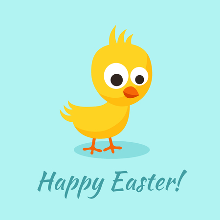 Happy Easter greeting with small yellow chick in flat design style. Ilustração