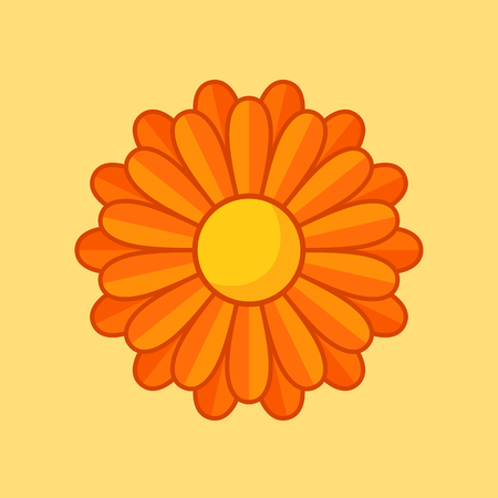 bloom: Simple illustration of orange flower with contour. Separate bloom.