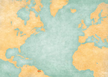 atlantic ocean: Suriname (Surinamese flag) on the map of North Atlantic Ocean. The Map is in vintage style and sunny mood. The map has soft grunge and vintage atmosphere, like watercolor painting on old paper. Stock Photo