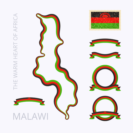 malawian flag: Outline map of Malawi. Border is marked with ribbon in national colors. The package contains frames in national colors and stamp with flag. Illustration