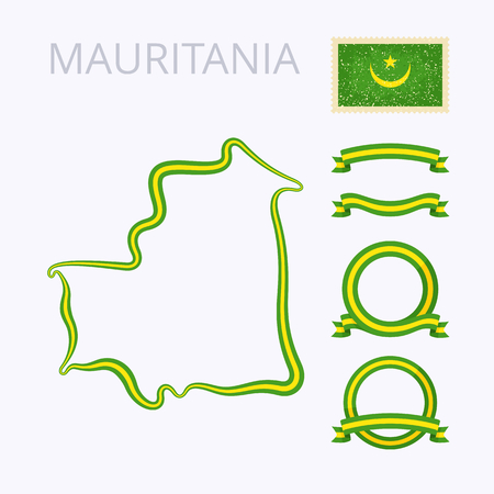 national border: Outline map of Mauritania. Border is marked with ribbon in national colors. The package contains frames in national colors and stamp with flag.