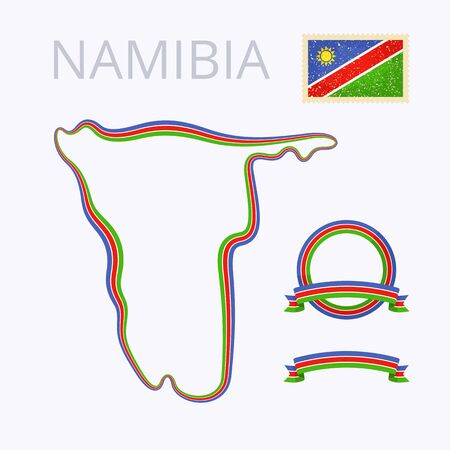 national border: Outline map of Namibia. Border is marked with ribbon in national colors. The package contains frames in national colors and stamp with flag.