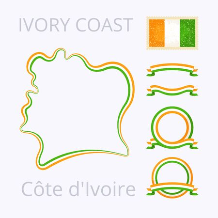 Esquema del mapa (Costa de Marfil) Costa de Marfil. Frontera está marcada con la cinta con los colores nacionales. El paquete contiene marcos en colores nacionales y el sello con la bandera.