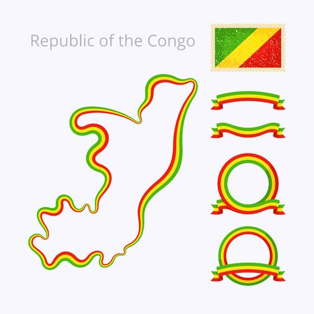 national border: Outline map of Republic of the Congo. Border is marked with ribbon in national colors. The package contains frames in national colors and stamp with flag.