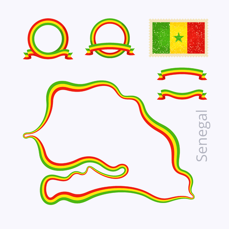 national colors: Outline map of Senegal. Border is marked with ribbon in national colors. The package contains frames in national colors and stamp with flag.