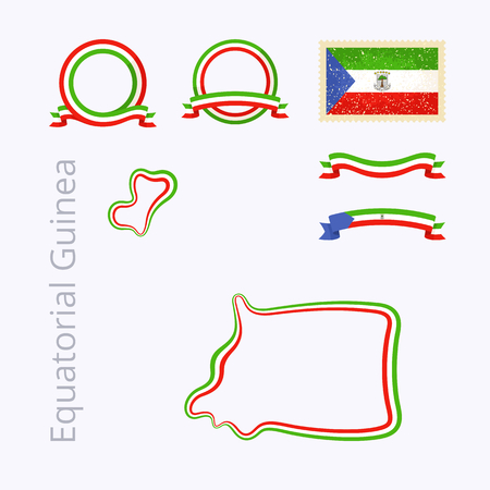 equatorial guinea: Outline map of Equatorial Guinea. Border is marked with ribbon in national colors. The package contains frames in national colors and stamp with flag.
