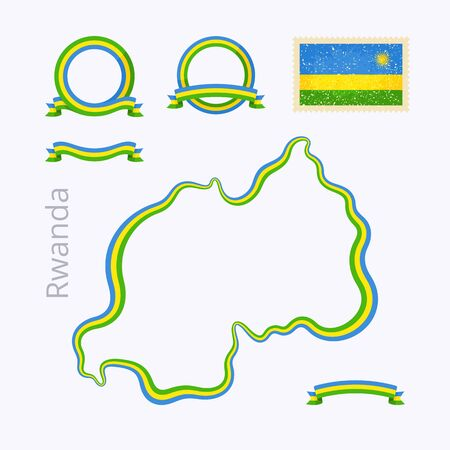 national border: Outline map of Rwanda. Border is marked with ribbon in national colors. The package contains frames in national colors and stamp with flag.