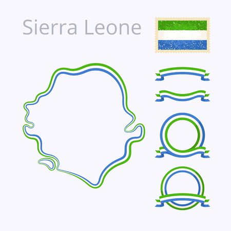 national border: Outline map of Sierra Leone. Border is marked with ribbon in national colors. The package contains frames in national colors and stamp with flag. Illustration