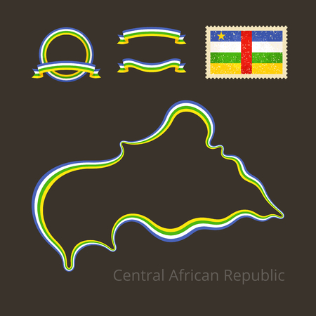 national colors: Outline map of Central African Republic. Border is marked with ribbon in national colors. The package contains frames in national colors and stamp with flag.