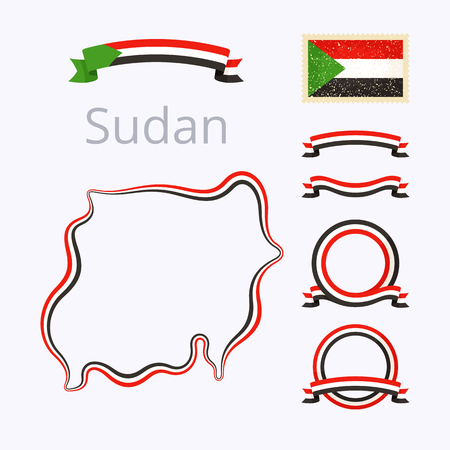 vintage stamp: Outline map of Sudan. Border is marked with ribbon in national colors. The package contains frames in national colors and stamp with flag. Illustration