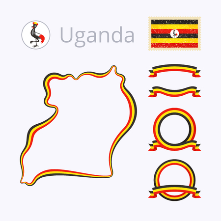 national border: Outline map of Uganda. Border is marked with ribbon in national colors. The package contains frames in national colors and stamp with flag.