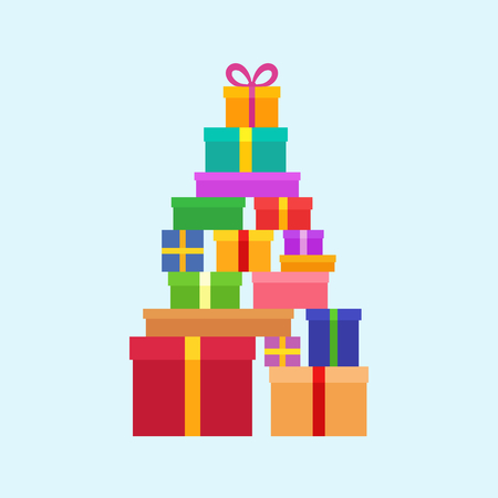 mound: Stack of Christmas Boxes for gifts. Flat design.