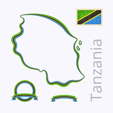 national border: Outline map of Tanzania. Border is marked with ribbon in national colors. The package contains frames in national colors and stamp with flag. Illustration