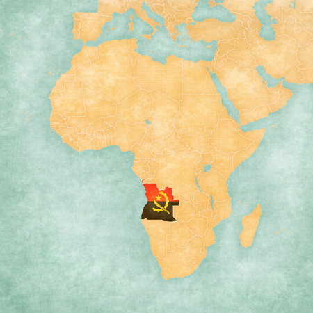 mainland: Angola (Angolan flag) on the map of Africa. The Map is in vintage summer style and sunny mood. The map has soft grunge and vintage atmosphere, like watercolor painting on old paper.