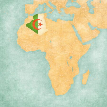 algerian flag: Algeria (Algerian flag) on the map of Africa. The Map is in vintage summer style and sunny mood. The map has soft grunge and vintage atmosphere, like watercolor painting on old paper.
