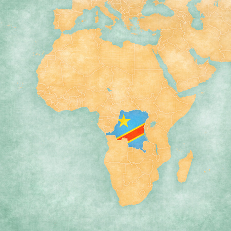 dr: The Democratic Republic of the Congo (Congolese flag) on the map of Africa. The Map is in vintage summer style and sunny mood. The map has soft grunge and vintage atmosphere, like watercolor painting on old paper.
