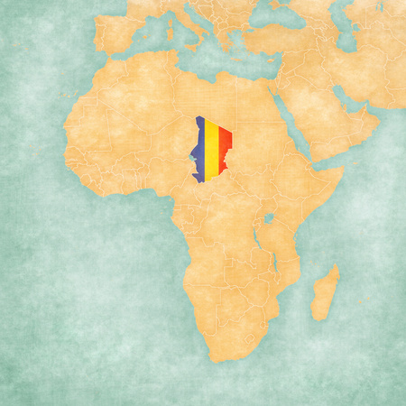 chadian: Chad (Chadian flag) on the map of Africa. The Map is in vintage summer style and sunny mood. The map has soft grunge and vintage atmosphere, like watercolor painting on old paper. Stock Photo