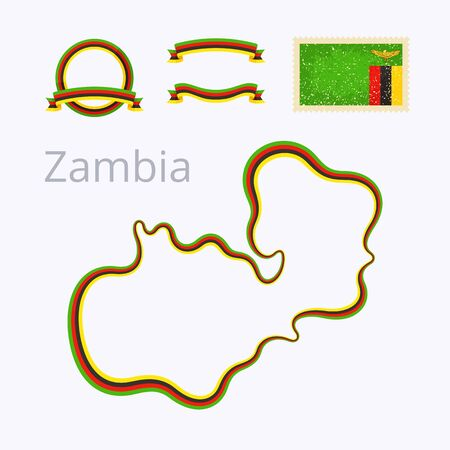 national border: Outline map of Zambia. Border is marked with ribbon in national colors. The package contains frames in national colors and stamp with flag. Illustration