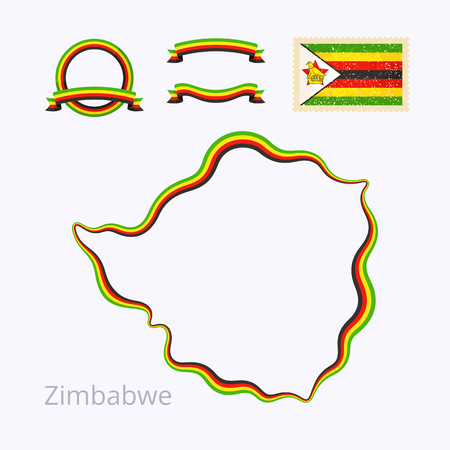 national colors: Outline map of Zimbabwe. Border is marked with ribbon in national colors. The package contains frames in national colors and stamp with flag.