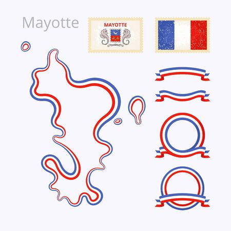 mayotte: Outline map of Mayotte. Border is marked with ribbon in national colors. The package contains frames in national colors and stamp with flag. Illustration
