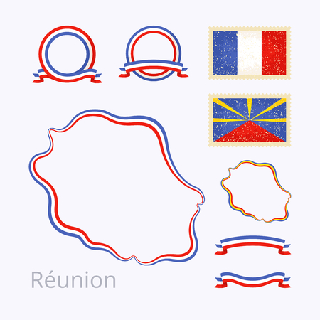 reunion: Outline map of  Reunion. Border is marked with ribbon in national colors. The package contains frames in national colors and stamp with flag.